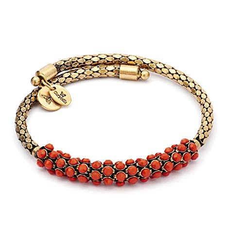 Chrysalis Pretty Design Adjustable Expanding Coral Red Beaded Wrap Bangle Bracelet, 14kt Gold Plated