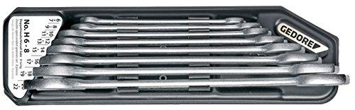 GEDORE H 6-8 Doppelmaulschlüssel-Satz, Ausführung nach DIN 3110, hochwertige Industriequalität, Köpfe feingeschliffen, Blendfrei-Optik durch mattes Verchromen, im Halter 8-teilig, 6-22 mm