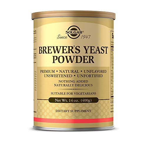 Solgar Brewer's Yeast Powder, 14 oz - Rich Source of Amino Acids, B-Complex Vitamins, Minerals, & Protein - Natural, Unflavored, and Unsweetened - Dairy Free, Vegetarian - 13 Servings