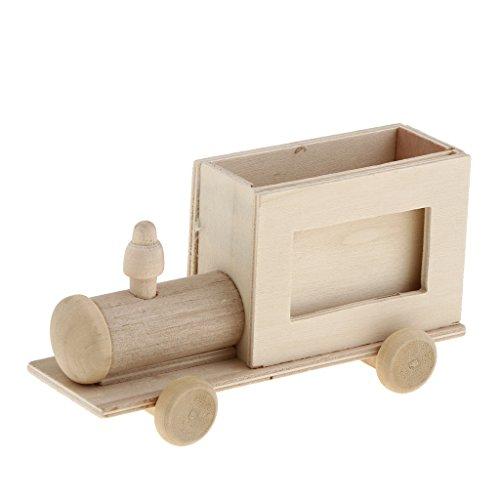 MERIGLARE Portalápices de Madera Sin Terminar Suministro de Manualidades para Niños - 14x4.3x6.1cm Tren