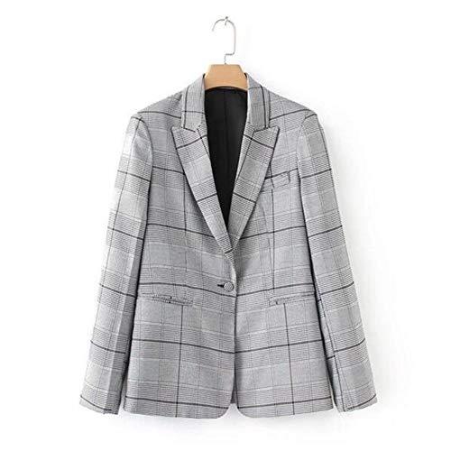 WJMM Damen Blazer Mit Graue Gepunktete Kragen Kontrastfarbe Plaid Blazer Frau One Button Slim Fit Kurzanzug Jacke Mantel Oberbekleidung, L