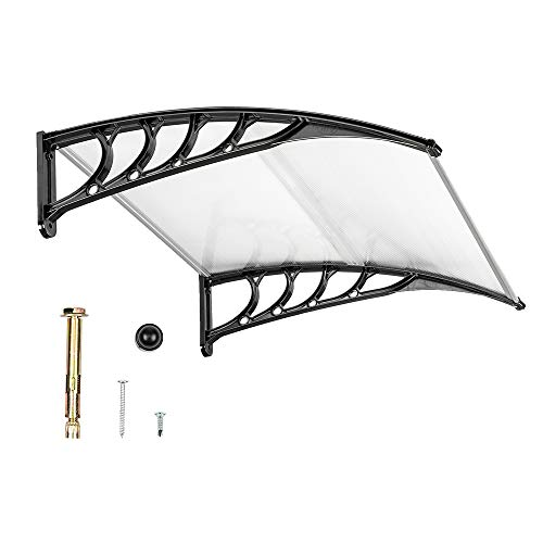 "VINGLI Window Awning Door Canopy, 40"" x 40"" Window Awning Overhead Door Modern Polycarbonate Cover Outdoor Front Door Patio Canopy UV Rain Snow Sunlight Protection Hollow Sheet/Black"