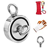 Fishing Magnet Double Sided, 3.7' Diameter, 1322lbs Pulling Force Strong Round Neodymium Rare Earth Magnet with Eyebolt, Heavy Duty Rope & Non-Slip Gloves for Magnetic Fishing, River, Salvage