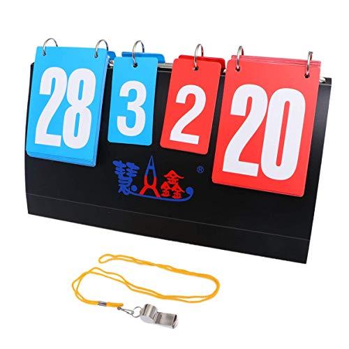 Puerto de 4 dígitos de 4 dígitos de 4 dígitos portátil Puntuación de puntuación plegable multifuncional for mesa de baloncesto de tenis de mesa de baloncesto de bádminton voleibol con un silbido Dirge