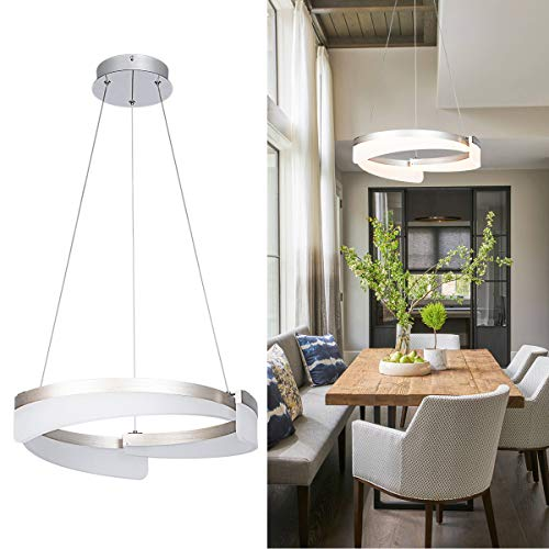Modern LED Pendant Light with Acrylic Shade 1-Ring 30W 3000K Circular Led Chandelier Brushed Nickel Light Fixtures Chandelier for Kitchen Island Dining Room Living RoomBedroom