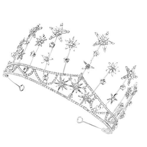 Lurrose Corona Nupcial Estrella de Cristal Corona Princesa Tiara Corona Mujeres Diademas...