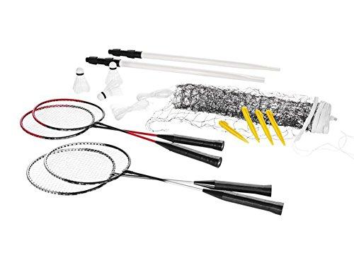 Crivit Badminton Komplett-Set für bis zu 4 Spieler: 4 Schläger, 3 Bälle, Spielnetz, Spannschnüre und Bodenanker