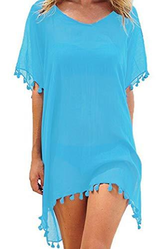 UMIPUBO Mujer Ropa de Baño Suelto Vestido de Playa Borla Verano Camisolas y Pareos Transparente Bikini Cover up (Azul)