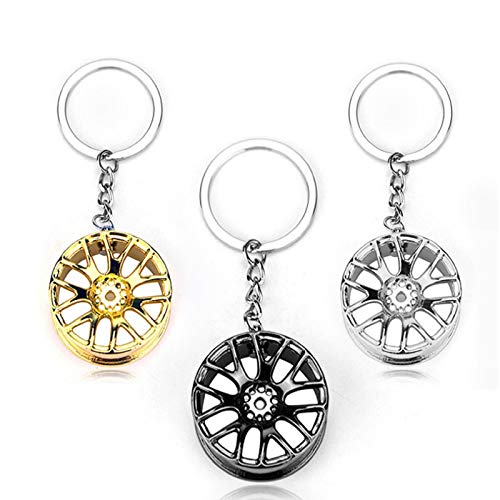 SHUIZHUYU 3 Pcs Auto Tire Key Chain Key Ring,Keychain Creative Auto Part,Spinning Turbo Keychain,for Men Women Accessories