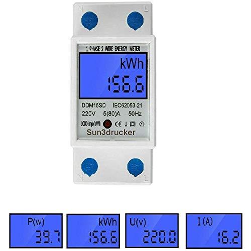 LCD Digitale Stromzähler Wechselstromzähler Hutschiene KWh Zähler 5(80) A 1-phasiger 2-poliger 2P-DIN-Schienen-Stromzähler