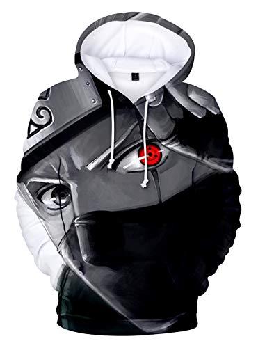 HUASON Jungen Mädchen Naruto 3D Hoodie Japanischer Anime Kapuzenpullover Uchiha Sasuke Uzumaki Kinder Langarm Sweatshirt(L)