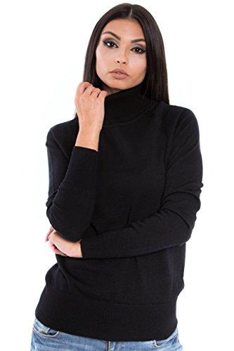 KNITTONS Women Italian Merino Wool Turtleneck Sweater Long Sleeve Pullover (Medium, Black)