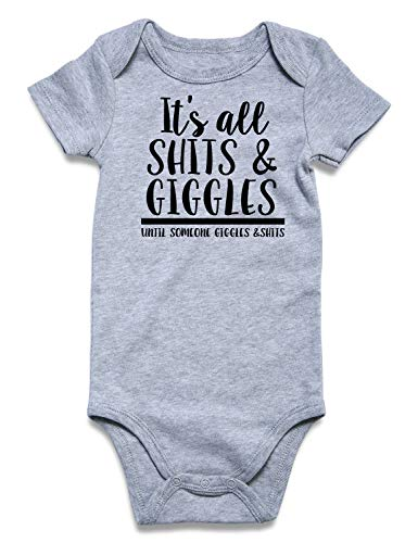 Newborn Outfit Funny Unisex Baby Onesie Cutest Baby First Rompers 3D Printed It's All SHIIS & Giggles Until Someone Giggles & Shits Baby Boys Onesie Clothes for 0-3 Months