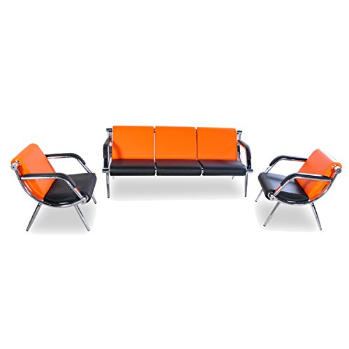 BORELAX 3PCS Office Reception Chair Set Orange and Black PU Leather Waiting Room Bench Visitor Guest Sofa Airport Clinic