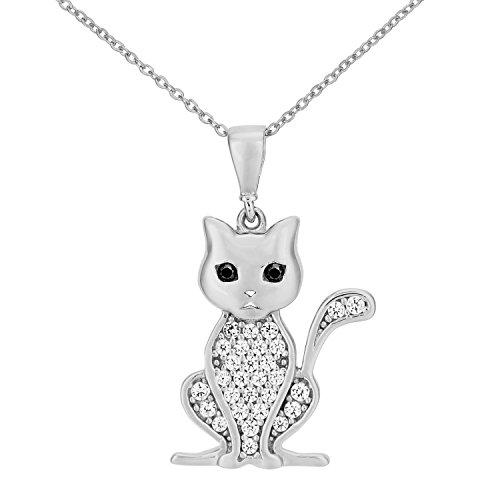 Citerna Women's 9 ct White Gold Cubic Zirconia Cat Pendant Necklace