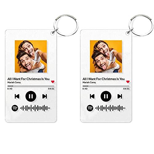 2 Piezas Llaveros Personalizados Arte de Vidrio de Spotify Personalizado Música Placa Llavero,Placa de Foto de Código de Spotify Escaneable Personalizada Llavero,Regalos para Novio, Novia, Tu Madre