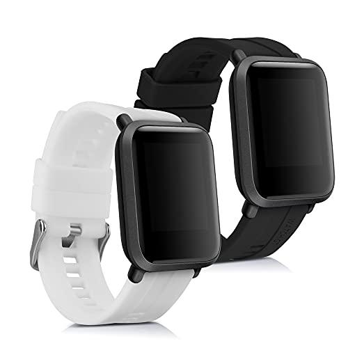 kwmobile Pulsera Compatible con Huami Amazfit Bip Bip Lite - 2X Correa de TPU para Reloj Inteligente - Negro Blanco