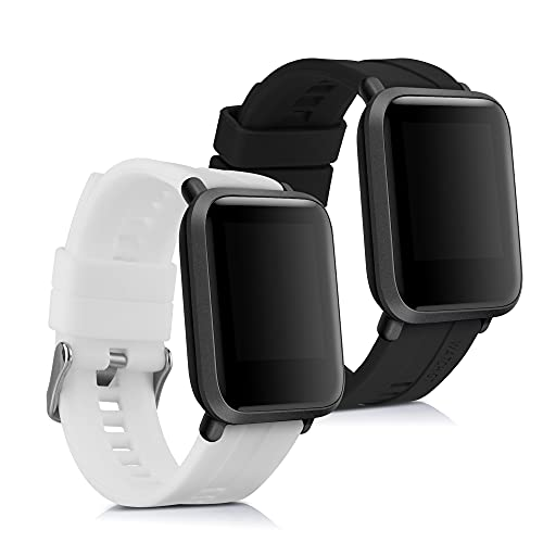 kwmobile Pulsera Compatible con Huami Amazfit Bip/Bip Lite - 2X Correa de TPU para Reloj Inteligente - Negro/Blanco