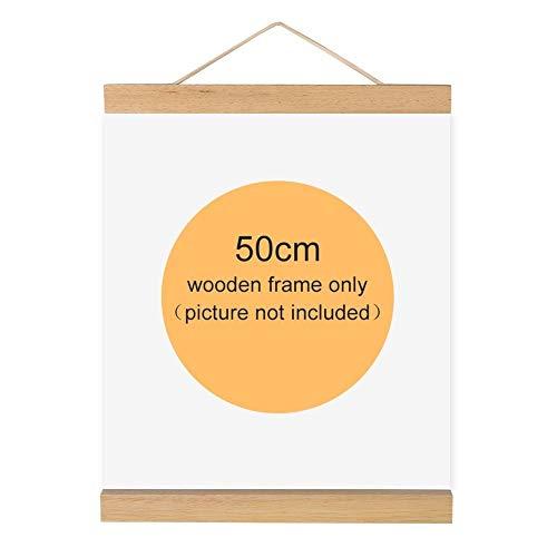 Magnetischer Bilderrahmen, Holz, natur Holz Rahmen Bild Poster Artwork auf Leinwand Aufhänger für Home Dekoration Wand weiß Holz, 50 cm