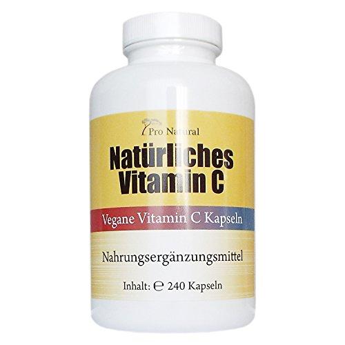 Natürliches Vitamin C - aus natürlichen Quellen Acerola-Extrakt und Hagebutten-Extrakt - 240 Kapseln 100% vegan