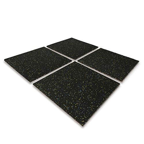 4 Stück 50x50x2,5cm Antivibrationsmatte Fallschutzplatte Bodenschutzmatte Gummimatte, Bodenmatten für Kinder, Fitnessraum Bodenmatte Unterlegmatte für Fitnessgeräte, Rutschfest