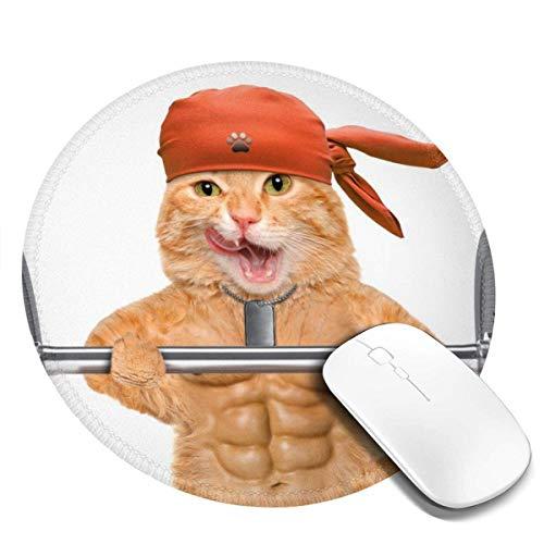 Mauspad, Premium-strukturierte Mausmatte, rutschfestes Gummibasis-Mousepad für Laptop, Computer und PC, mehrfarbig und multisize, Fitness-Katze, die eine schwere große Hantel hebt