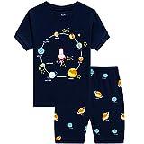 Toddler Boys Pajamas 100% Cotton Summer Pjs for Boy Jammies Rocket Sleepwear Short Sets Clothes(Rocket-6198 8T)