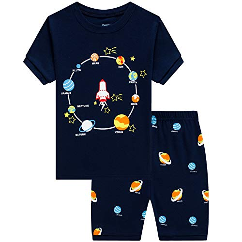 Popshion Toddler Boys Pajamas 100% Cotton Summer Pjs for Boy Jammies Rocket Sleepwear Short Sets Clothes(Rocket-6198 8T)
