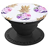 Flower Pineapple Purple Phone Popper PopSockets Grip and Stand for Phones and Tablets