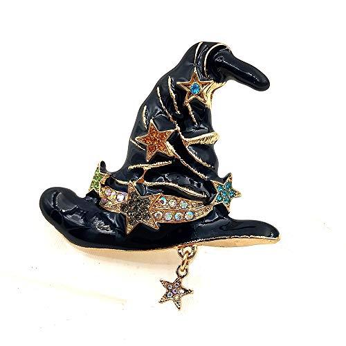 FFto Pin de Broche de Bruja deEsmalte Negro con Estrella de Cristal de Color de araña de fantasía mágica de Halloween
