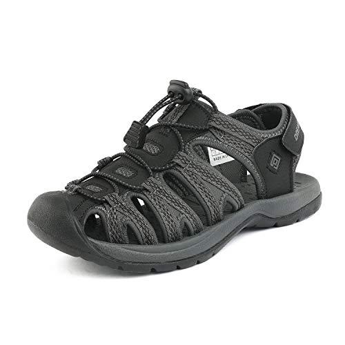 DREAM PAIRS Women's 160912-W-New Black DK.Grey Adventurous Summer Outdoor Sandals Size 7.5 M US