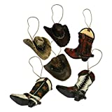 Western Rivers Products - River's Edge Products Western Cowboy Christmas Ornaments, 6 Assorted Poly Resin