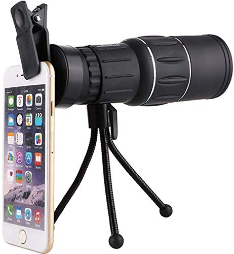 ZHBH Prisma de Alta Potencia Monocular y Soporte rápido para teléfono Inteligente, telescopios Refractor de astronomía HD 16X52 portátil con Lente BAK4 Prism FMC