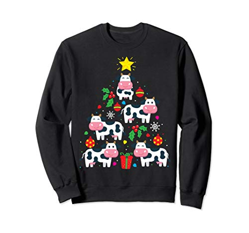 Funny Cow Christmas Tree Sweatshirt Ornament Decor Gift Tee Sweatshirt