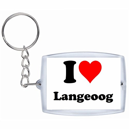 Druckerlebnis24 Schlüsselanhänger I Love Langeoog in Weiss - Exclusiver Geschenktipp zu Weihnachten Jahrestag Geburtstag Lieblingsmensch