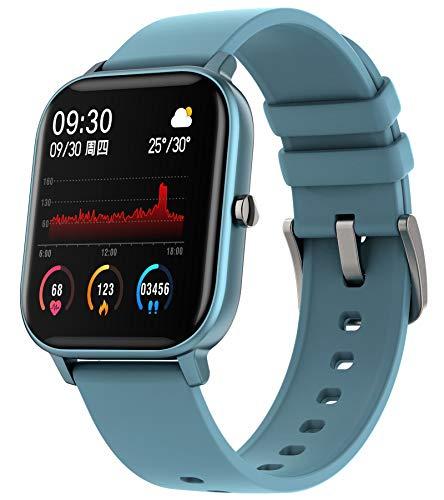 Fitness Uhr Herren Damen Fitnessuhr Sportuhren Schrittzähler Uhr mit Blutdruckmessung Pulsmesser Kalorienzähler Pulsuhren Android Smartwatch IOS Tracker Watch Frauen Armbanduhr Blau