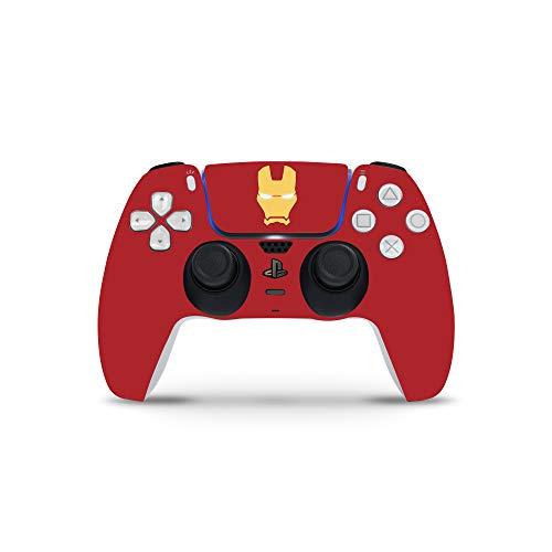 PS5 Controller Skin De 46 North Design, Misma Calidad Que Las Calcomanías De Coche, Superheroes Man Black Red Yellow Iron Neon, Alta Calidad, Duradera, Compatible Con PS5 W/Disk, Fabricado En Canadá
