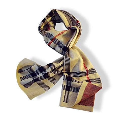 SUNXK pañuelos de Tela Escocesa 2019 de los Hombres de Punto Bufandas de la Manera Coreana Bufandas Hombres Europeos y Americanos (Color : Khaki, Size : 35-185CM)