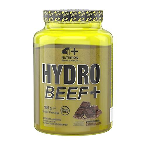 4+ NUTRITION - Hydro Beef+, Integratore Sportivo, con Proteine Idrolizzate del Manzo e Vitamine, Crescita e Mantenimento della Massa Muscolare, Gusto Chocolate, 900 gr