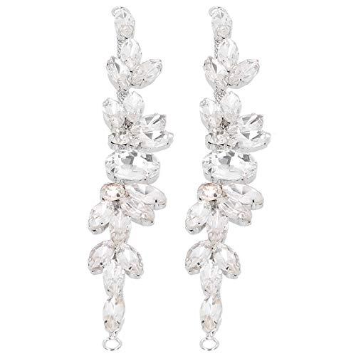 Fockety Cadena de Garra de Costura, Cadena de Garra de Diamante marquesa Fuerte, Cristal Brillante para Fiesta de cumpleaños de Viaje de Dama(2 * 17cm Oval)