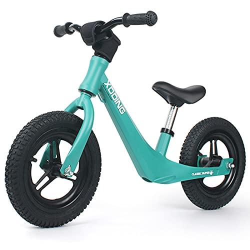 Bicicleta De Equilibrio para Niños De Aleación De Magnesio, Bicicleta De Entrenamiento Infantil De 2 A 6 Años De Edad, Bicicleta De Equilibrio para Bebés No Pedales,Verde