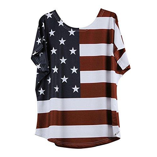Zegeey Damen Oberteil Lose Bluse Shirt T-Shirt Rundhals Ausschnitt ÜBergrößE Sommer Stern Streifen Kurzarm Tops Tee(Rot,48 DE/L CN)