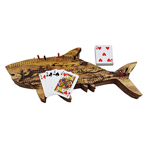 Fractal Burned Shark Cribbage Board Game Set with Hidden Storage Base and a Hanger on The Back for Wall Decoration. Continuous 3-Track Board with Skunk Lines