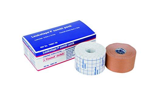 Leukotape P Combi Pack Kombinationssatz von 3,8 cm x 13,7 m Leukotape und 5cm x 10m Fixomull Stretch-Tape, Patella Taping Set für Knie Stabilität und Support, Knieband für femoropatellaren