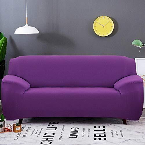 XCVBSofa hoes Effen kleur Elastische Sofa Cover All-inclusive Kussenovertrekken 1/2/3/4 zits Moderne Hoekbank Bank Hoes Stoelbeschermer, paars