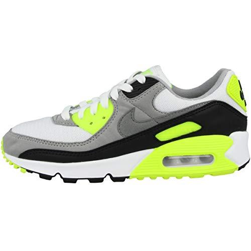 Nike Damen W Air Max 90 Sneaker, Weiß/Partikelgrau-Volt-Schwarz, 36.5 EU