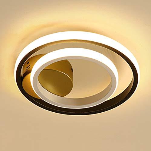 Lámpara de Techo LED Moderna Plafón Pasillo Regulable, Luz de Pasillo Redondo en Blanco y Negro, Luces de Metal Decorativas Modernas, Luz para Escalera Balcón Cocina 36W Ø25cm