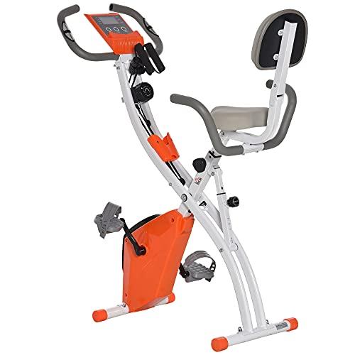 HOMCOM Vélo d'appartement Pliant 8 Niveaux de résistance magnétique Dossier Selle réglable poignées ergonomiques écran LCD Multifonction suspensions Support Tablette Acier Orange Blanc