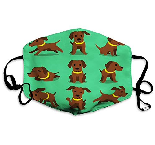 sdfwerweq Cotton Dustproof Warm Adult Unisex Mouth Mask Cartoon Character Brown Labrador Dog Poses