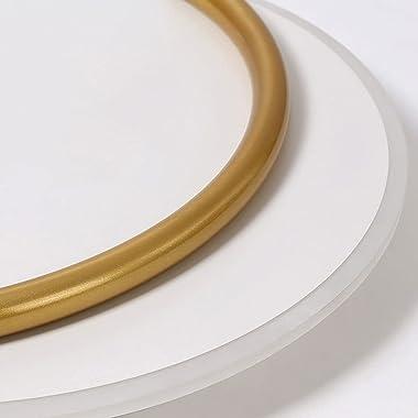 Ksovv Plafonnier LED Rond à encastrer Lampe de Salon à 2 Couches pour ménage Lampe de Plafond décorative dorée Moderne Couloi